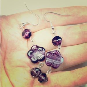 Jewelry - Czech Amethyst Purple Flowers Handmade Earrings